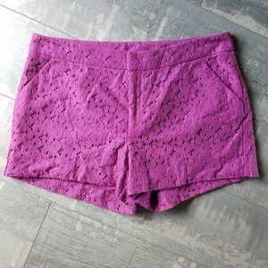 ☀️3/$25 Nicole Miller Purple Eyelet Lace Shorts E6